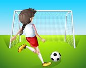 Illustration of a girl practicing soccer