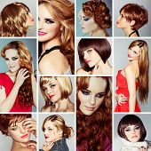 collage of the same beautiful young woman wearing different make-up and long and short hairstyles on