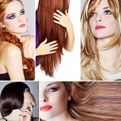 collage of beautiful young woman photos with different hairstyles from long blond hair to short on s