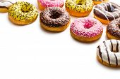 stock photo of donut  - various donuts on white background - JPG