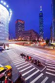 TAIPEI, TAIWAN - JANUARY 18: Traffic in the Xinyi District January 18, 2013 in Taipei, TW. Several k
