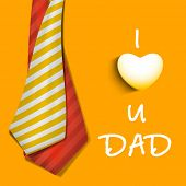 Happy Fathers Day concept banner, flyer or poster design with neckties and text I Love You Dad on ye