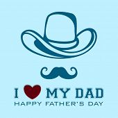 Happy Fathers Day Vintage Background, Flyer oder Banner mit Text ich liebe My Dad, Hut und Schnurrbart.