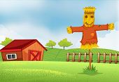 stock photo of scarecrow  - Illustration of a farm with a barn and a scarecrow - JPG
