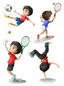 Illustration of the four boys playing different sports on a white background