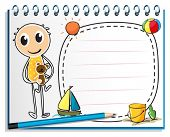 Illustration of a notebook with an image of a boy holding a toy on a white background