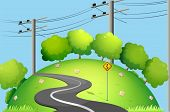 pic of long winding road  - Illustration of a long road at the top of the hill - JPG