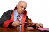 Senior adult judge with gavel isolated on white background