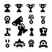 stock photo of prize  - Trophy and Awards Icons - JPG