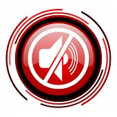 mute red circle web glossy icon on white background
