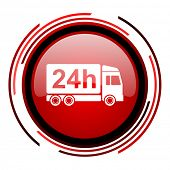 delivery 24h red circle web glossy icon on white background