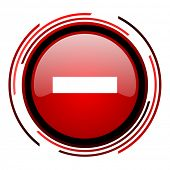 minus red circle web glossy icon on white background