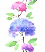 Watercolor seamless hydrangeas pattern