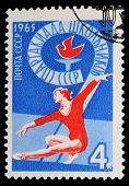 USSR - CIRCA 1965: A stamp printed in USSR, School sports day th