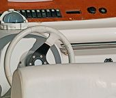 pic of rudder  - a detail of a white motorboat rudder