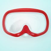 picture of a red and white diving mask, with a retro effect