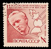 CIRCA 1983: A post stamp printed in USSR, showing First