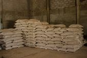 Arrangement With Lots Of Fertilizer Sacks.