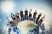 stock photo of skyscrapers  - Concept of global business team with businesspeople over the world - JPG