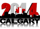 Calgary skyline with 2014 Canadian flag text illustration