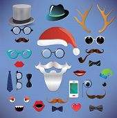 Christmas silhouette set hipster style illustration icons