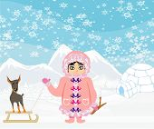 stock photo of eskimos  - little Eskimo girl and her dog  - JPG