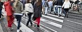 stock photo of zebra crossing  - People crossing the street on zebra crossing - JPG