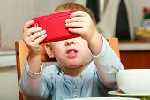 Funny Dirty Boy Child Kid Taking Photo With Red Mobile Phone Indoor