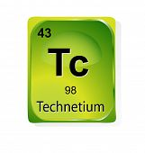 Technetium chemical element with atomic number, symbol and weight