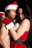 Santa Couple Eyes Closed Close