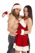 Santa Couple Man No Shirt Together Smile