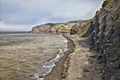 World famous fossil cliffs on the Bay of Fundy, at Joggins, Nova Scotia, Canada. A UNESCO World Heritage Site.