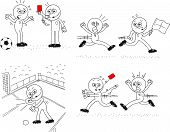 foto of referee  - Cartoon sketch referee and soccer players - JPG