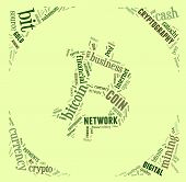 Bitcoin Logo Word Cloud With Green Wordings