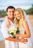 Bride and Groom, Romantic Newly Married Couple on the Beach, Just Married