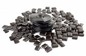 stock photo of licorice  - licorice candy and licorice licorice wheels isolated on white - JPG
