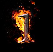 Numbers And Symbols On Fire - 1