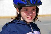Girl Portrait Helmet poster