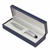 ballpoint pen gift box silver isolated on a white background cli