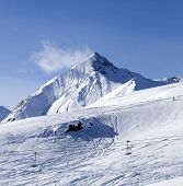 picture of lifting-off  - View on off piste ski slope - JPG