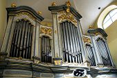 LITOVEL, CZECH REPUBLIC CIRCA MARCH 2011 - The organ in the church of Saint Mark