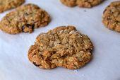 Fresh baked homemade oatmeal cookies