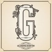 Calligraphic Design Font with Typographic Floral Elements for your Artworks. Nice for Page Decoration. Letter G