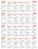 Calendar, New Year 2009, 2010, 2011, 2012