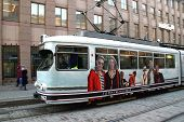 Moving Helsinki Tram With Tommy Hilfiger Advertisement