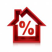 foto of borrower  - graphic for real estate business 3d percentage isolated on white background - JPG