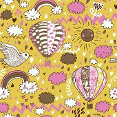 Cute seamless texture with hot air balloons, bird and clouds. Seamless pattern can be used for wallp