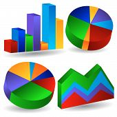 pic of line graph  - set of bar chart and other graph types isolated on a white background - JPG