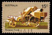 AUSTRALIA - CIRCA 1972: A stamp printed by Australia honoring Australian Pioneer Life shows Horse th