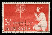 AUSTRALIA - CIRCA 1957: A stamp printed in Australia from the Christmas issue shows The Spirit of Christmas, circa 1957.